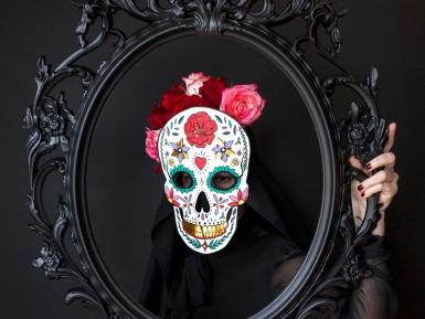 Wit kartonnen Dia de los Muertos masker-1