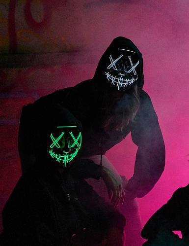 Blauw lichtgevend led masker voor volwassenen-2