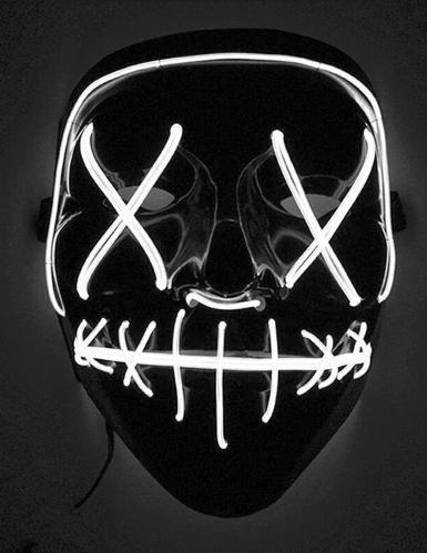 Lichtgevend wit licht led masker voor volwassenen