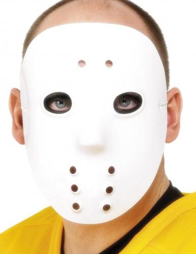 Wit plastic hockeymasker voor volwassenen