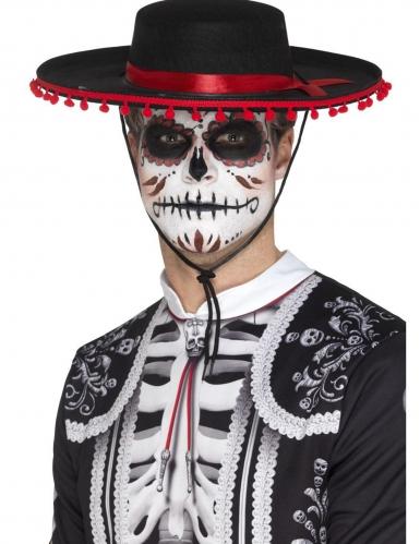 Rode en zwarte Dia de los Muertos sombrero voor volwassenen