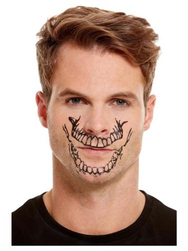 Skelet schmink set met mond tatoeage voor volwassenen-1