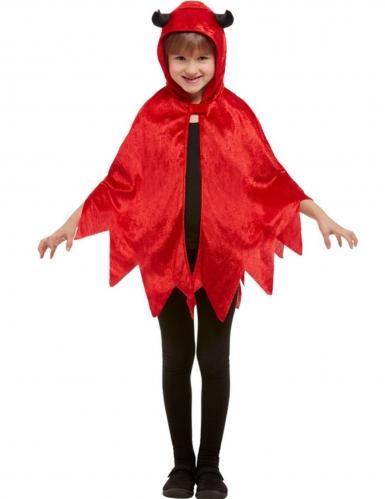Rode fluweelachtige kleine duivel cape voor kinderen