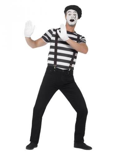 Mime kostuum met schmink voor mannen