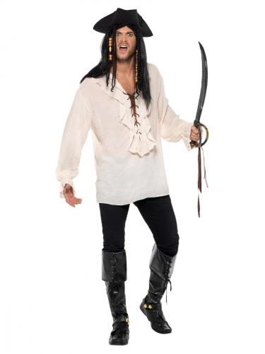 Gebroken-witte piraten blouse voor volwassenen-1