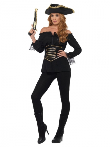 Luxe zwarte piraten blouse voor dames