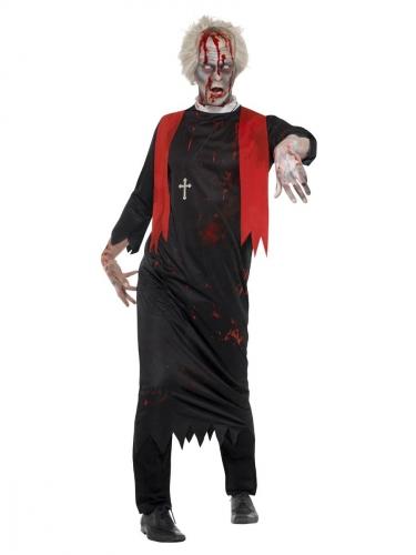 Zwart zombie priester kostuum voor mannen