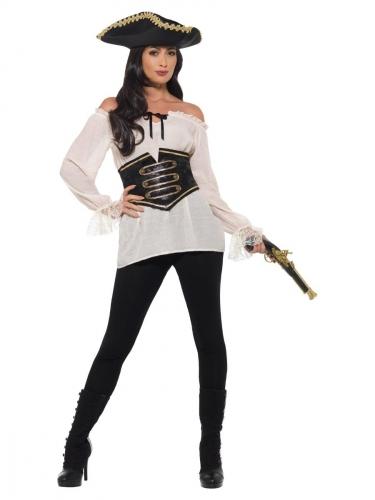Luxe ivoorkleurige piraten blouse