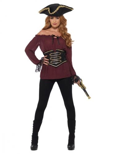 Luxe bordeaux rode piraten blouse voor vrouwen