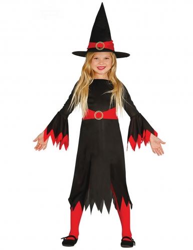 Zwart met rood heksenkostuum voor meisjes
