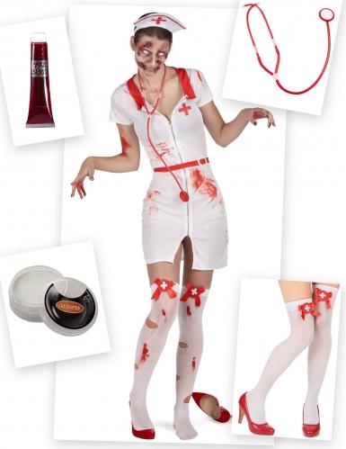 Zombie verpleegster kostuum pack met accessoires voor dames