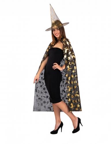 Zwarte en goudkleurige heksen set voor vrouwen