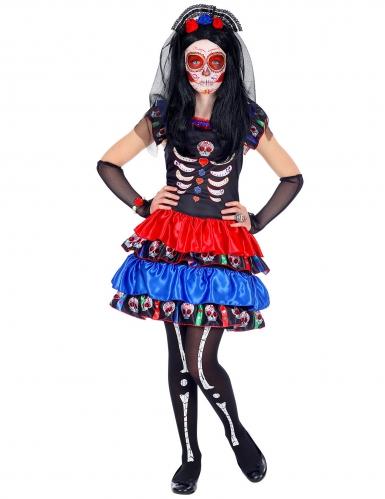 Rood en blauw Dia de los Muertos kostuum voor kinderen-1
