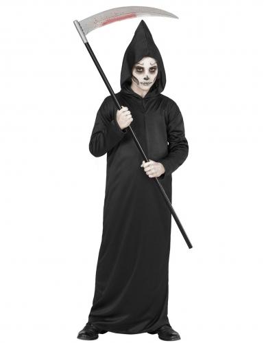 Zwart reaper skelet outfit voor kinderen-1