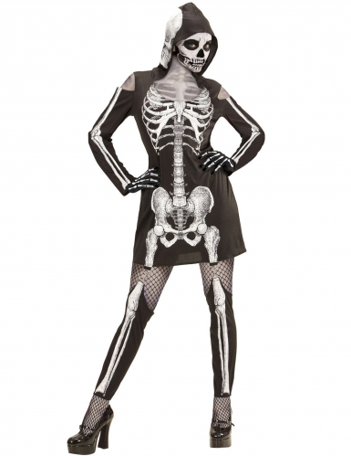Skelet kostuum met beenwarmers voor vrouwen
