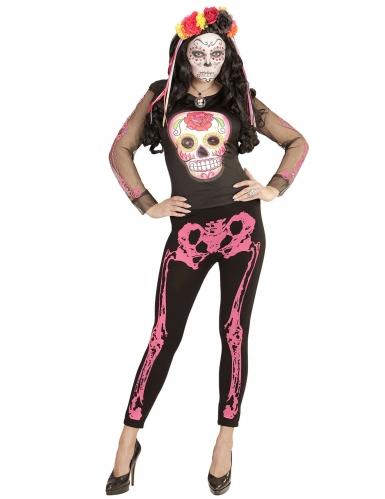 Fluo roze skelet legging voor vrouwen-1