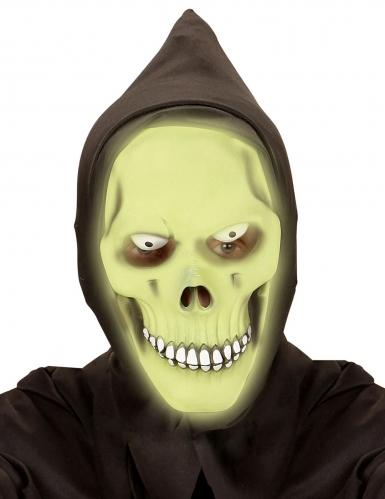 Groen fosforescerend reaper masker met capuchon voor volwassenen