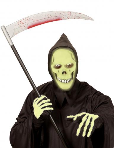 Groen fosforescerend reaper masker met capuchon voor volwassenen-1