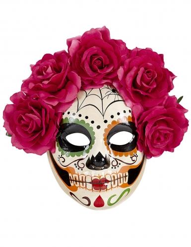 Dia de los Muertos masker met bloemen voor volwassenen