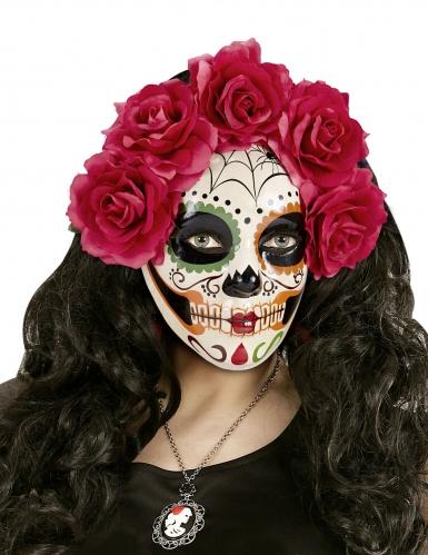 Dia de los Muertos masker met bloemen voor volwassenen-1