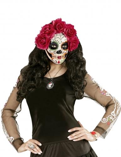 Dia de los Muertos masker met bloemen voor volwassenen-2