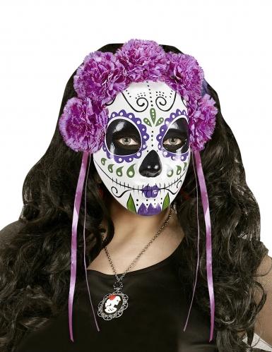 Paars Dia de los Muertos masker met linten voor volwassenen-1