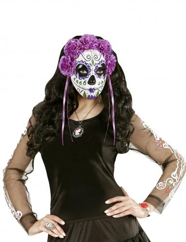 Paars Dia de los Muertos masker met linten voor volwassenen-2