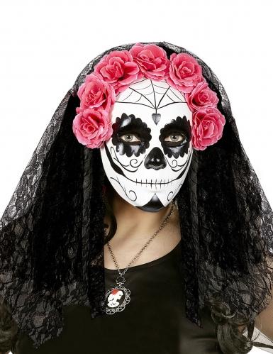 Dia de los Muertos masker met sluiers voor volwassenen-1