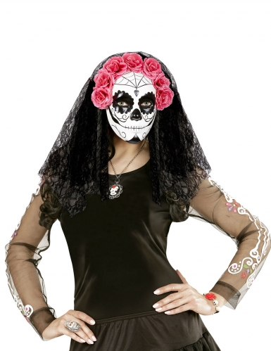 Dia de los Muertos masker met sluiers voor volwassenen-2