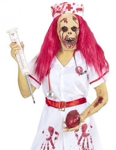 Zombie verpleegster masker met roze haren-1