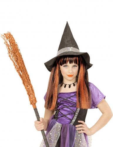 Heksen pruik met oranje plukken voor meisjes-1