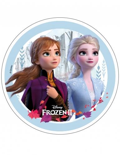Frozen 2™ taartschijf Anna en Elsa 21 cm