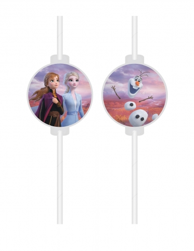 4 Frozen 2™ rietjes met kartonnen afbeelding