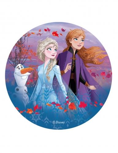 Frozen 2™ taartschijf Anna, Elsa en Olaf