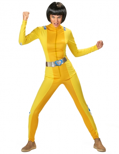 Geel spion kostuum voor dames
