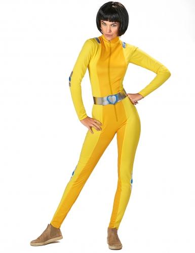 Geel spion kostuum voor dames-1