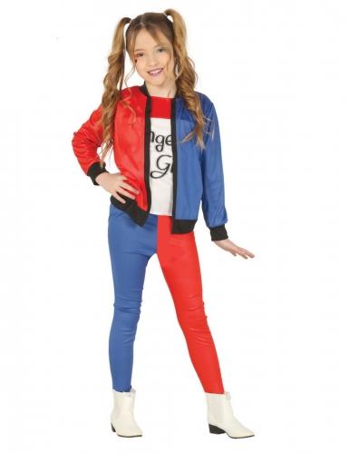 Rood en blauw harlekijn kostuum voor meisjes