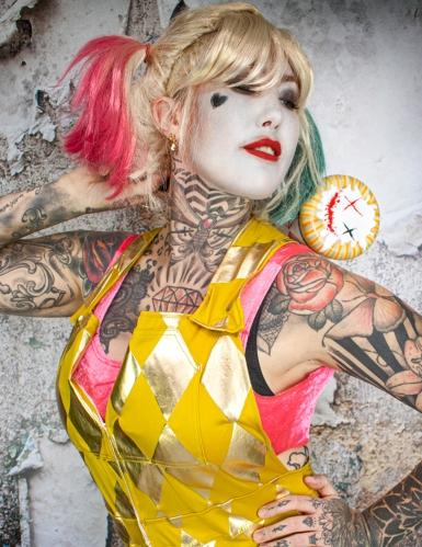 Gouden Harley Quinn Birds of Prey™ kostuum voor dames-2