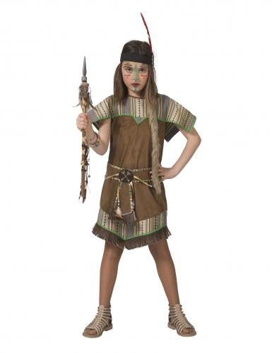 Bruin met groen indianen kostuum voor meisjes