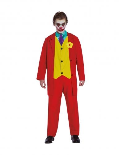 Rode gestoorde joker clown kostuum voor volwassenen