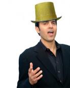 Hoge goudkleurige hoed voor volwassenen
