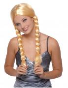 Blonde pruik met vlechten voor dames