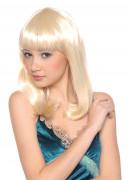 Halflange blonde damespruik