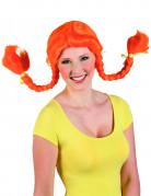 Oranje pipi langkous pruik voor dames