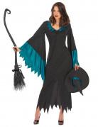 Zwart met blauw toverheksen outfit voor vrouwen