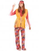Geel met roze hippie kostuum voor vrouwen