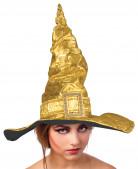 Goudmetaalkleurige heksenhoed voor volwassenen