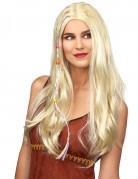 Blonde steile hippiepruik voor volwassenen