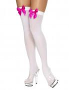 Witte kousen met roze strikjes voor volwassenen