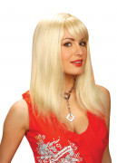 Lange steile blonde damespruik